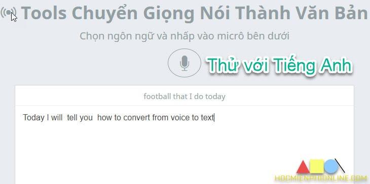 Chuyển giọng nói thành văn bản tiếng Anh
