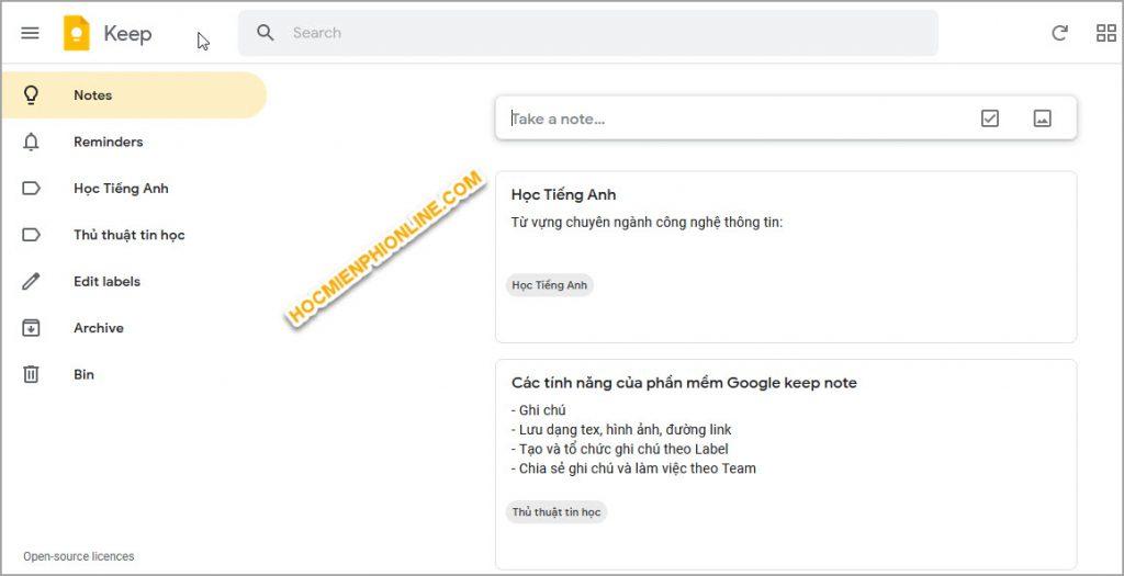 Hướng dẫn sử dụng Google keep notes 1