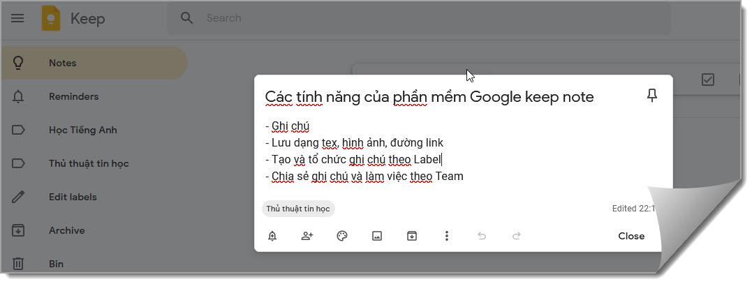 Tạo ghi chú với google keep
