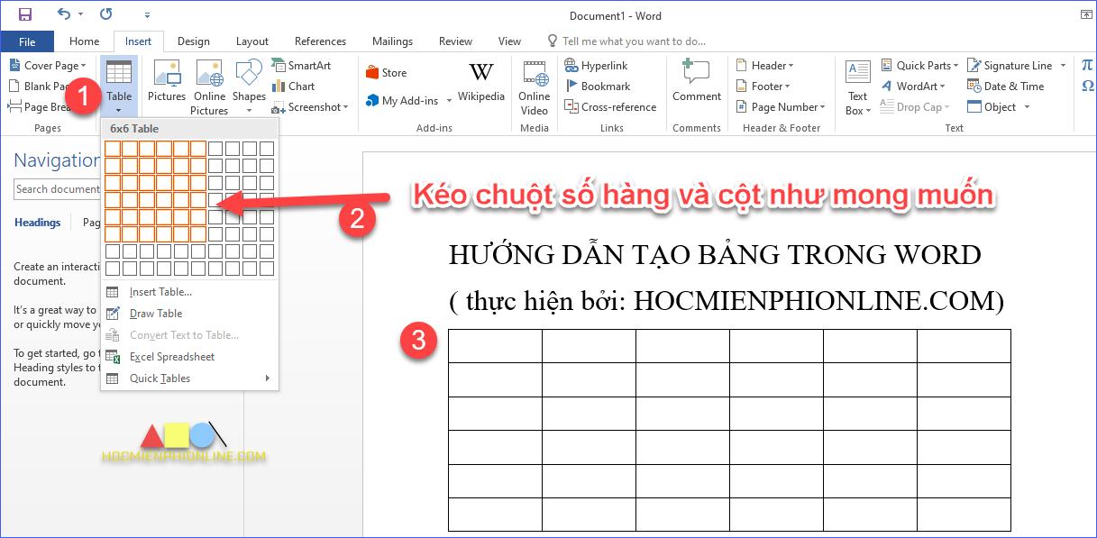 Cách tạo bảng trong word bằng cách chèn tự động