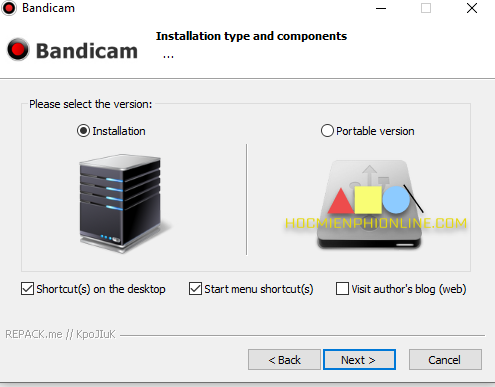 Cài đặt phần mềm bandicam bước 3