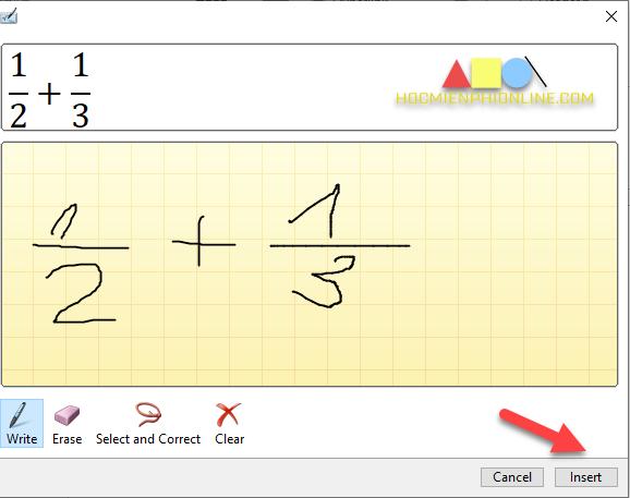 Gõ phân số bằng công cụ Ink Equation
