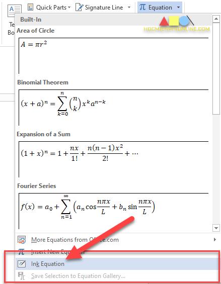 Gõ phân số trong word bằng Ink Equation