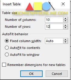 Nhập số cột và hàng khi insert table